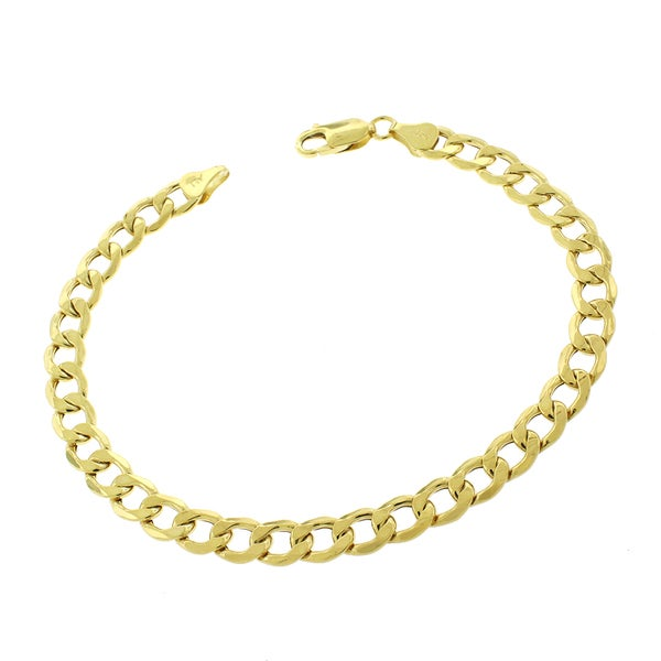 10k Yellow Gold 7mm Hollow Cuban Curb Link Bracelet Chain 8.5""