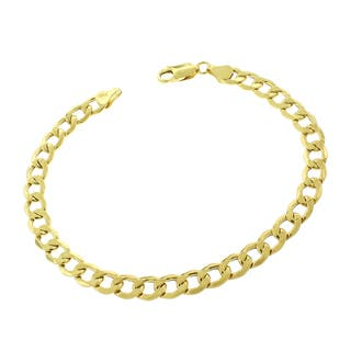 10k Yellow Gold 7mm Hollow Cuban Curb Link Bracelet Chain|https://ak1.ostkcdn.com/images/products/12441404/P19256840.jpg?impolicy=medium