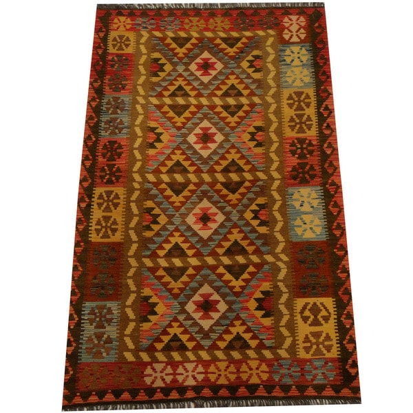 Herat Oriental Afghan Hand-woven Vegetable Dye Wool Kilim (4'2 x 6'8)