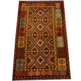 Herat Oriental Afghan Hand-woven Vegetable Dye Wool Kilim (4'2 x 6'8)
