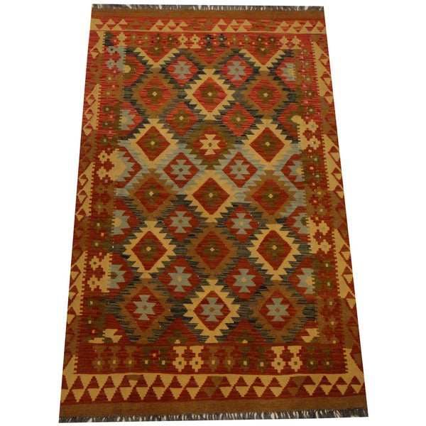Herat Oriental Afghan Hand-woven Vegetable Dye Wool Kilim (4' x 6'5)