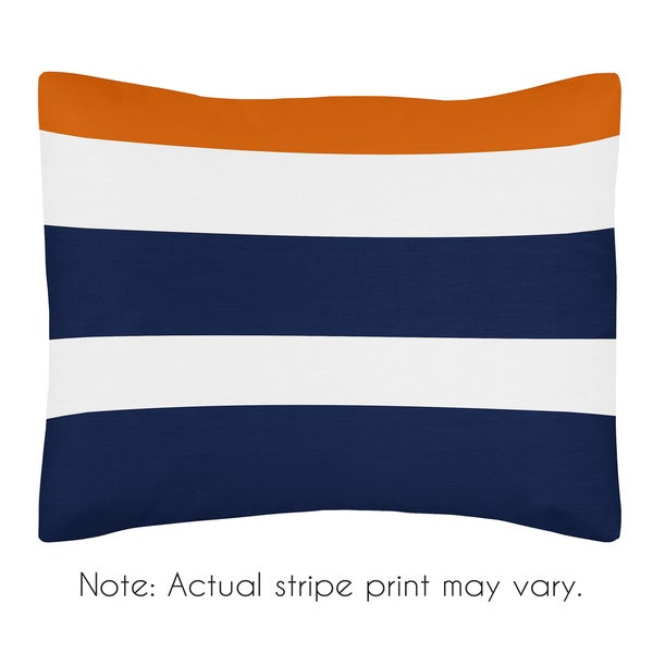 Standard Pillow Sham for the Navy Blue and Orange Stripe Collection by Sweet Jojo Designs