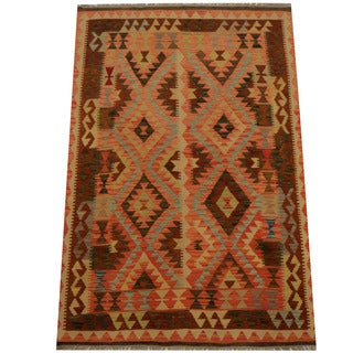 Herat Oriental Afghan Hand-woven Vegetable Dye Wool Kilim (4'2 x 6'4)