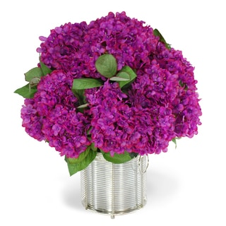 Jane Seymour Botanicals Orchid Color 19-inch Hydrangeas in Wire Cachepot