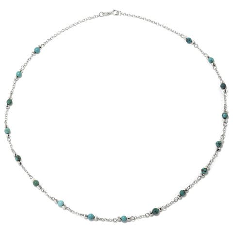 54a3566f3 Sterling Silver Enhanced Turquoise Round Stone Station Necklace. $57.50. See  Price in Cart
