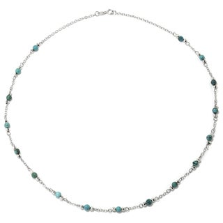 Sterling Silver Enhanced Turquoise Round Stone Station Necklace