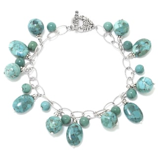 Sterling Silver Enhanced Turquoise Stone Bracelet