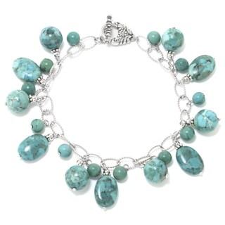 Sterling Silver Enhanced Turquoise Stone Bracelet