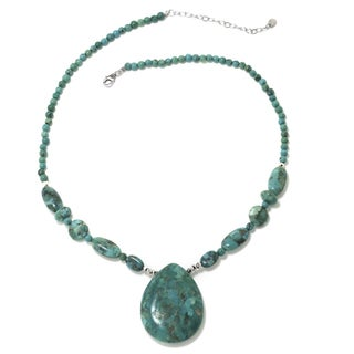 Sterling Silver Enhanced Turquoise Teardrop Necklace