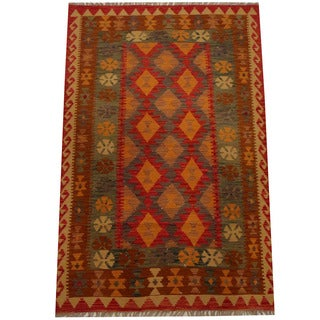 Herat Oriental Afghan Hand-woven Vegetable Dye Wool Kilim (4'2 x 6'5)