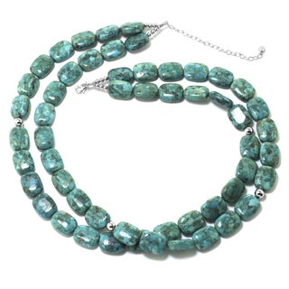 Sterling Silver Enhanced Turquoise Double-Row Rectangle Stone Necklace