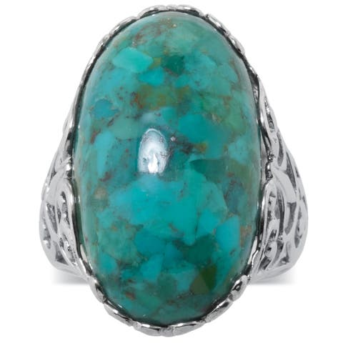 Enhanced Turquoise Sterling Silver Filigree Band
