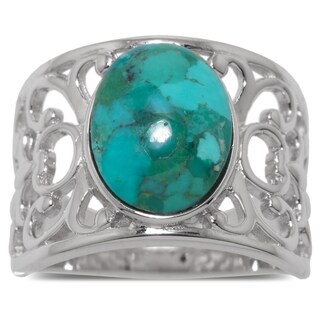 Sterling Silver Enhanced Turquoise Filigree Band
