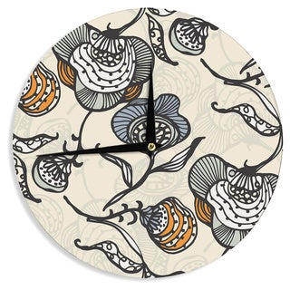 KESS InHouseGill Eggleston 'Future Nouveau' Tan FloralWall Clock