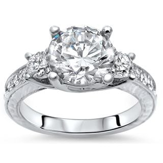 Noori Collection14k White Gold 2 1/3ct TGW Moissanite Diamond 3 Stone Engagement Ring