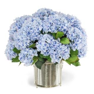 Jane Seymour Botanicals Blue Hydrangeas in 19-inch Silver Wire Cachepot
