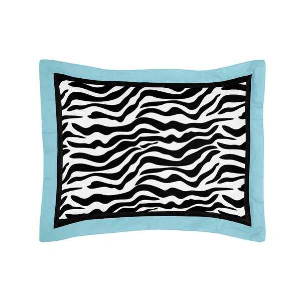 Turquoise Funky Zebra Collection Standard Pillow Sham by Sweet Jojo Designs