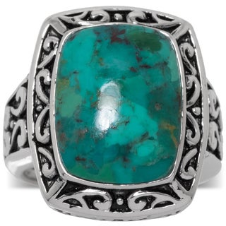 Sterling Silver Enhanced Turquoise Oxidized Square Ring