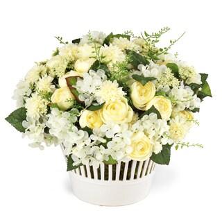 Jane Seymour Botanicals Cream Garden Mixed Bouquet in 13-inch-tall Vermeil Ceramic Bowl