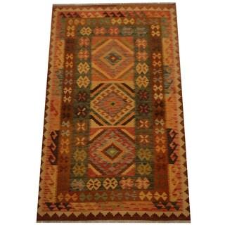 Herat Oriental Afghan Hand-woven Vegetable Dye Wool Kilim (4'1 x 6'9)