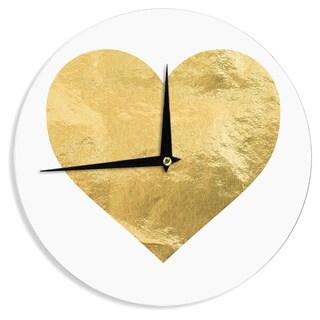 KESS InHouse KESS Original 'Heart of Gold' Metallic Wall Clock