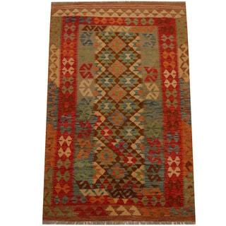 Herat Oriental Afghan Hand-woven Vegetable Dye Wool Kilim (4' x 6'2)