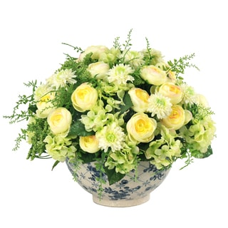 Jane Seymour Botanicals Cream/Yellow/Green Mixed Bouquet Centerpiece In Blue and White Bowl with 16-inch Diameter