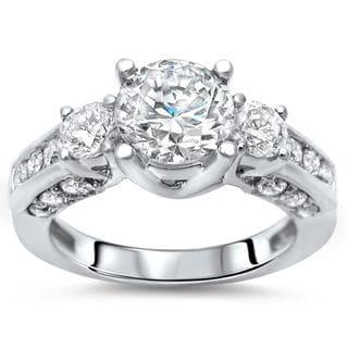 Noori 14k White Gold 2ct TGW Round Moissanite Diamond 3 Stone Engagement Ring