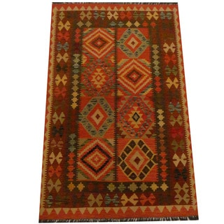 Herat Oriental Afghan Hand-woven Vegetable Dye Wool Kilim (4'1 x 6'4)