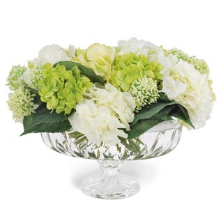 Jane Seymour Botanicals Hydrangea Mixed Centerpiece In 15-inch Ornate Glass Bowl