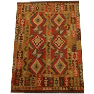 Herat Oriental Afghan Hand-woven Vegetable Dye Wool Kilim (4'5 x 6'2)