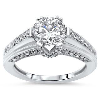 Noori Women's 14k Gold Round Moissanite Diamond Six Prong Engagement Ring