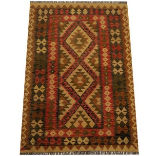 Herat Oriental Afghan Hand-woven Vegetable Dye Wool Kilim (4'3 x 5'4)