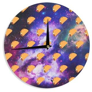 KESS InHouse Juan Paolo 'Taco Galaxy' Pink Purple Wall Clock