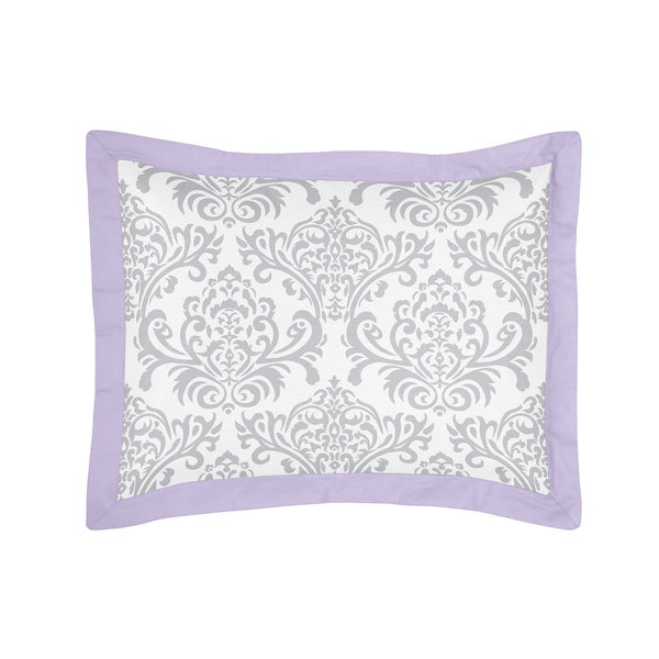 Lavender and Gray Elizabeth Collection Standard Pillow Sham by Sweet Jojo Designs