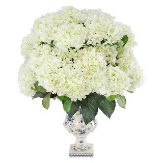 Jane Seymour Botanicals White 23-inch Tall Hydrangea Bouquet In Blue/White Footed Vase