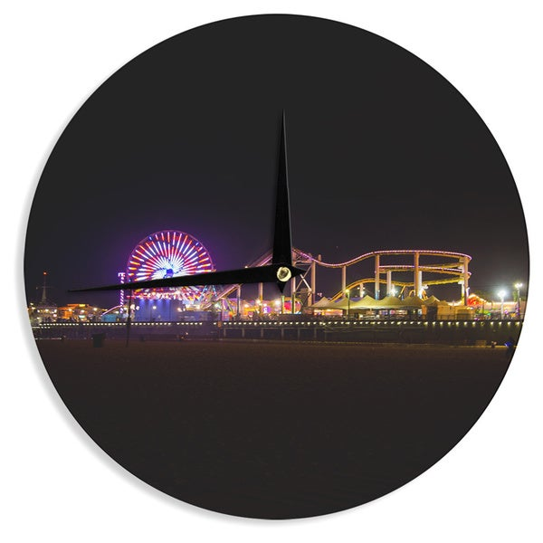 KESS InHouse Juan Paolo 'Santa Monica Pier' Multicolor Black Wall Clock