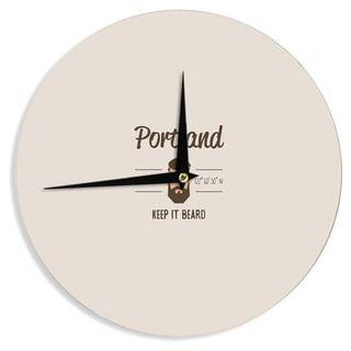KESS InHouse Juan Paolo 'Original Hipster' Beige Typography Wall Clock