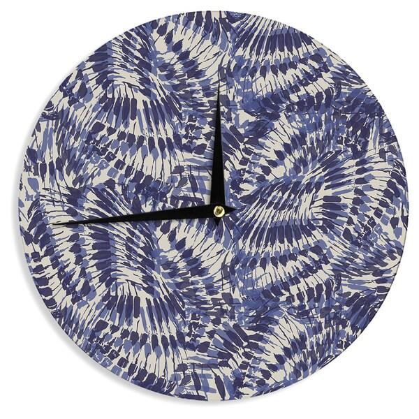 KESS InHouseGukuuki 'Iggy Palms' Navy Blue Wall Clock
