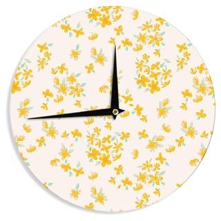 KESS InHouseGukuuki 'Kashmir Garden' Yellow White Wall Clock