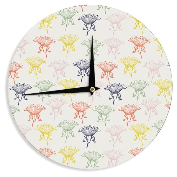 KESS InHouseGukuuki 'Rainbow Poppies' Multicolor Floral Wall Clock