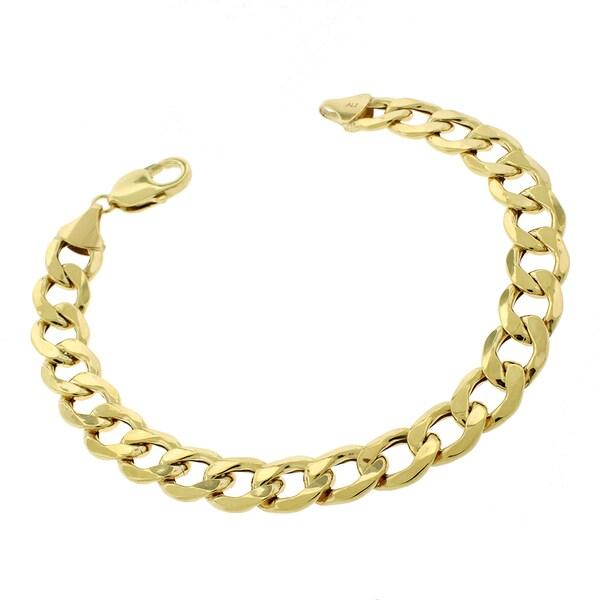 10k Yellow Gold 11mm Hollow Cuban Curb Link Bracelet Chain 9