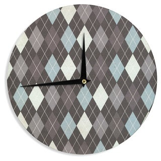 KESS InHouseHeidi Jennings 'Argyle' Blue Gray Wall Clock