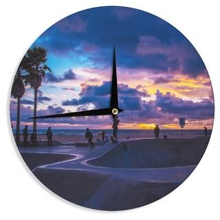 KESS InHouse Juan Paolo 'Dogtown' Multicolor Blue Wall Clock