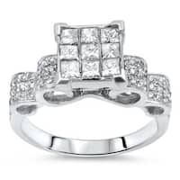 Noori 14k Gold 1ct Princess Cut Diamond Engagement Ring - White