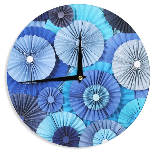 KESS InHouseHeidi Jennings 'Blue Lagoon' Aqua Navy Wall Clock