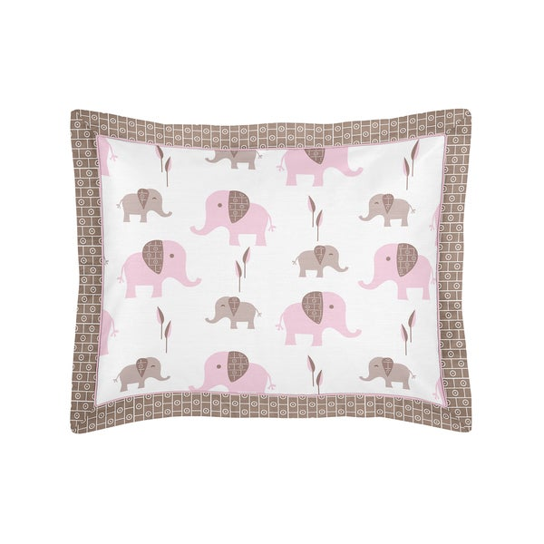 Pink and Taupe Mod Elephant Collection Standard Pillow Sham by Sweet Jojo Designs