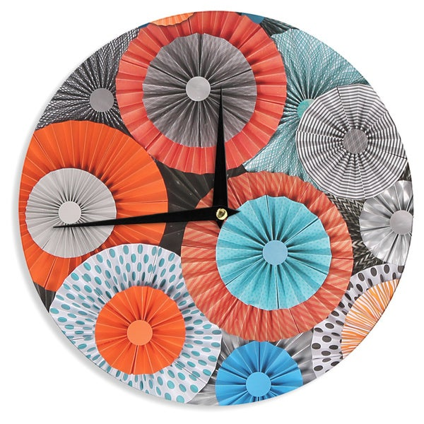 KESS InHouseHeidi Jennings 'Breaking Free' Orange Blue Wall Clock
