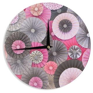 KESS InHouseHeidi Jennings 'Bubble Gum' Pink Gray Wall Clock