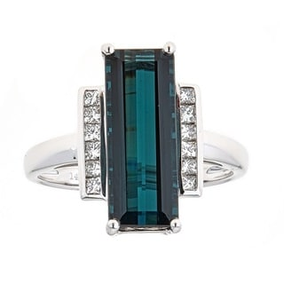 Anika and August 14k White Gold Indigo Crystal and Diamond Ring